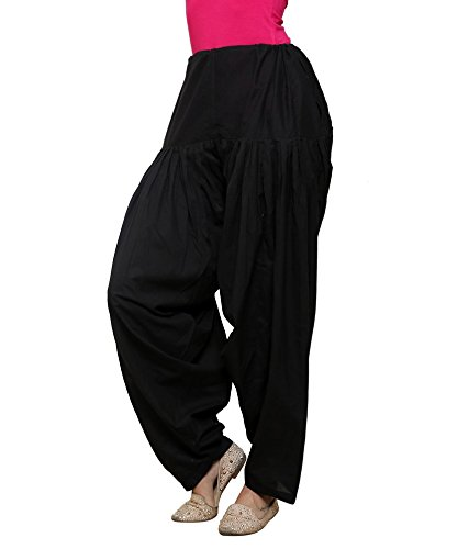 LuvCare Women\'s Cotton Patiala Salwar with Knotting (Black, Free Size)