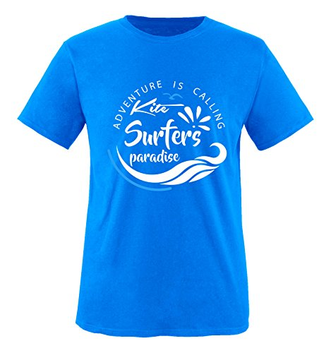 Comedy Shirts - Kite Surfers Paradise - Herren T-Shirt - Royalblau/Weiss-Blau Gr. XXL