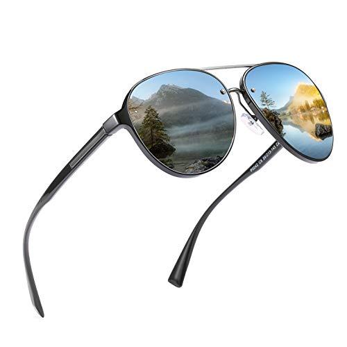 jinyuebrand JINYUE 2019 Neue Ware Polarisierte Sonnenbrille Pilotenbrille für Herren & Frauen Outdoor 100% UV400 Schutz Fahren Sonnenbrille (Schwarz)