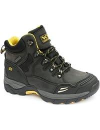 Resistente al agua de piel con punta de acero de seguridad botas de trabajo negro