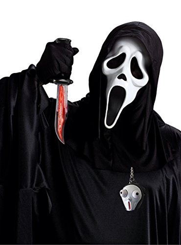 tüm Set Blut Messer Original Maske Kutte Handschuhe Waffe mit fließendem Blut Schlüsselanhänger (Blutende Scream Kostüm)