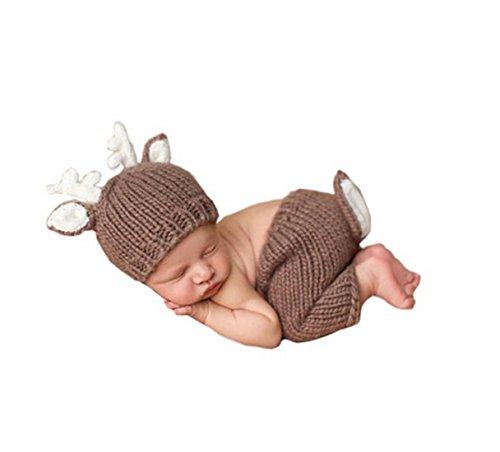 Jastore® Infant baby braun Deer Kostüm Fotografie Hut Set Handarbeit Häkelarbeit (Kombiniert Kostüm)