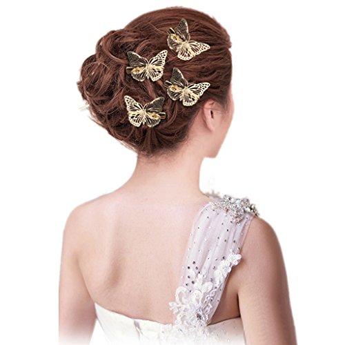6pcs Femmes Pinces à Cheveux Papillon Mariée Hairbow Barrettes Cheveux Diy Accessoire Doré