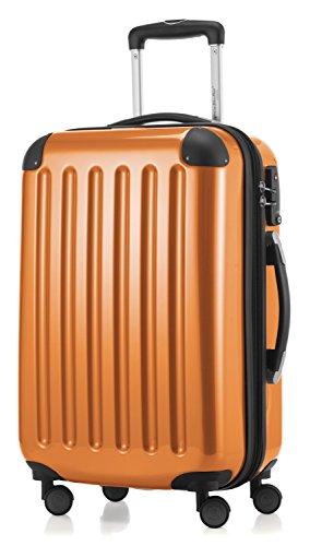 HAUPTSTADTKOFFER - Alex -  4 Doppel-Rollen Handgepäck Hartschalen-Koffer Trolley Rollkoffer Reisekoffer, TSA, 55 cm, 42 Liter, Orange