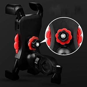 HAOHAOWU Soporte Móvil Bicicleta, Soporte Bicicleta Moto Estante del Manillar Impermeable Ajustable Rotación 360° Silicona,Black(1),A