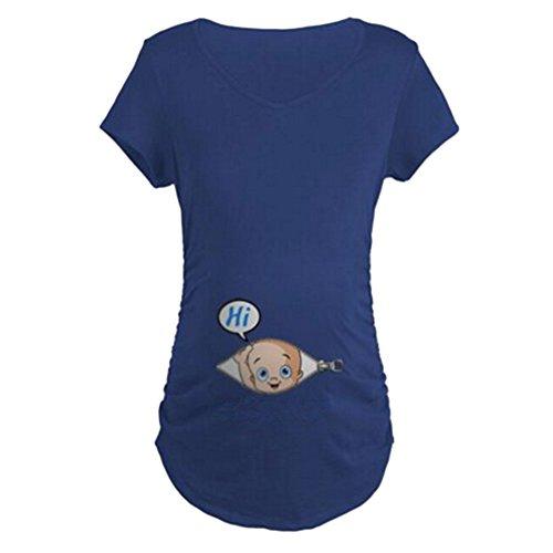 Gagacity Witzige Umstandsmode Süße Schwangere Maternity Damen Umstandsmode T-Shirts mit Mutterschafts-Niedliche Lustige Slogan Motiv Schwangerschaft Geschenk Kurzarm (Shirts Lustige Mutterschaft)