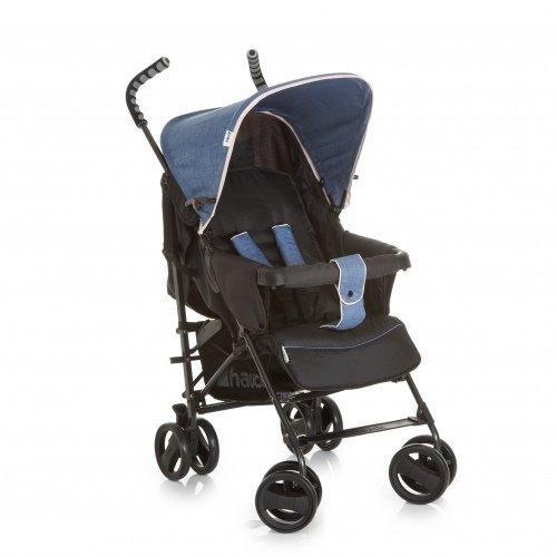 *Hauck Sprint S Buggy, mit Liegefunktion, extra schmal zusammenfaltbar, für Kinder ab Geburt bis 15 kg, ergonomische Schiebegriffe, leicht, melange jeans caviar (schwarz blau)*