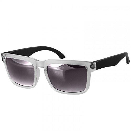 Caspar sg018 occhiali da sole retrò unisex, colore:nero/nero sfumato