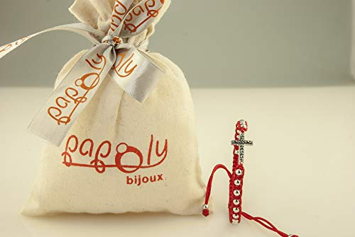 Imagen de papoly® pulseras de macramé en color rojo, bolas y medallonson de plata de ley 925 con swarovski® crystal,se ajusta fácilmente.m.rojo cross  alternativa