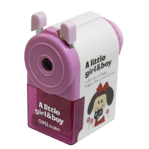 Cartoon-Muster Braue Zeichnung Bleistift Hand Sharpener Pink White -