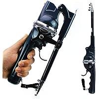 BIYI Canne à pêche Pliable Fish Line Canne à pêche Portable à Roue intégrale (Bleu foncé)