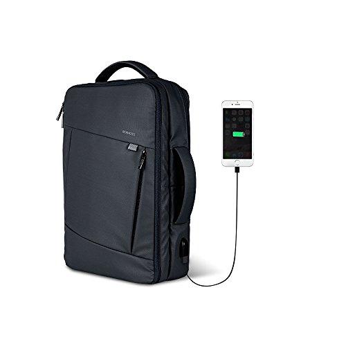 ROMOSS Laptop Rucksack 15.6 Zoll Business Backpack mit USB Ladeport, Wasserdicht Laptop Tasche Schulrucksack Reise Pendler Taschen für Männer Frauen (Schwarz) (Pendler-tasche)
