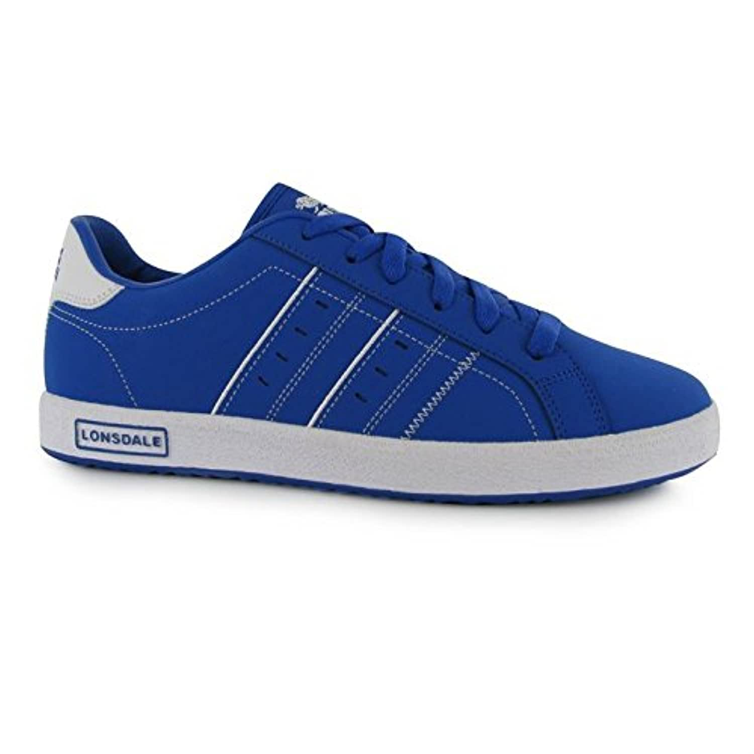 Lonsdale Kids Oval Trainers Junior Lace Up Ventilation Colour Contrasting Shoes Blue/White UK 3 (36)