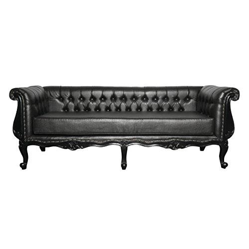 Chesterfield 3-4 Sitzer Sofa Black Night Leder Sofa XXL
