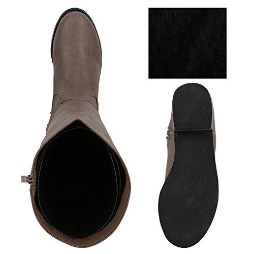 Gefütterte Damen Stiefel Flache Boots Langschaft Schuhe Khaki