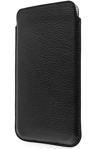 WIIUKA Echt Ledertasche - Pure - für Apple iPhone X und XS Hülle extra Dünn, kabellos Laden Qi, im Slim Fit Design, Schwarz, Premium Leder Tasche Case