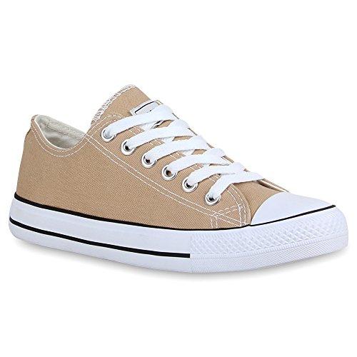 Damen Sneakers Turn Freizeit Low Sneaker Übergrößen Prints Glitzer Denim Schuhe 54124 Khaki Ambler 38 Flandell (Kostüm Damen Tragen)