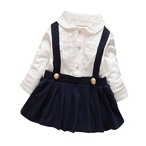 Manadlian Bébé Fille Dentelle Robe Manche Longue 6-18 Mois Bébé Ensemble de Vêtements
