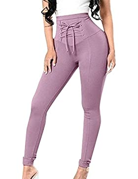 Pantalones Lápiz Mujer Primavera Otoño Elegantes Largas Cintura Alta con Cordones Color Sólido Fashion Basic Ropa...