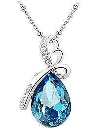 Le Premium® collier pendentif en cristal en forme de goutte d'eau en fleur Swarovski Aquamarine bleu cristaux