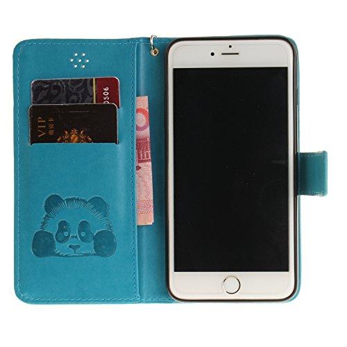 Custodia per iPhone 6S in Pelle,SKYXD Cover per Apple iPhone 6 Custodia Flip Libro 360 Gradi PU Wallet / Porta Carte / Chiusura Magnetica Case Caso di Morbida Colorato Panda Designi PU Portafoglio Sup Azzurro
