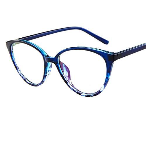 REALIKE Unisex Brille Elegant Flacher Spiegel Runder Rahmen Brillengestell Brille Anti-Blaulichtbrille, Leopardenmuster-Brillengestell Aus, (Farbe : ()