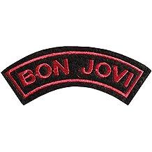 Bon Jovi negro y rojo bordado insignia parche para coser o planchar 8cm