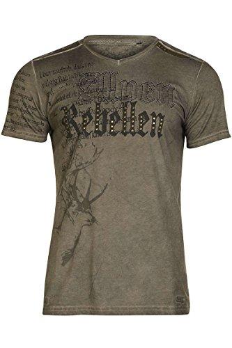 Herren Hangowear Trachten T-Shirt V-Ausschnitt braun 'Alpen Rebellen', Braun, XL