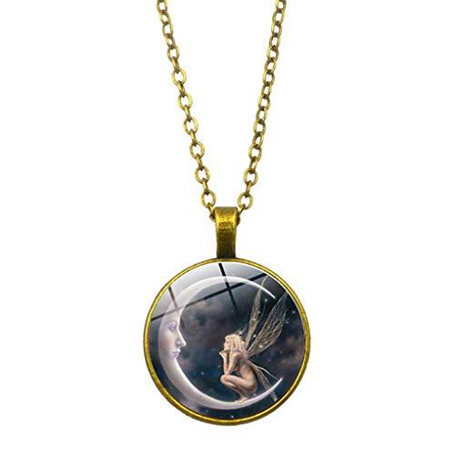 LAJICEF Halskette Retro Mond-Engels-Halsketten-Antike-Mädchen Sweater Hals-Anhänger Frauen Schmucksache-Feiertags-Geburtstag-Geschenk,Gold