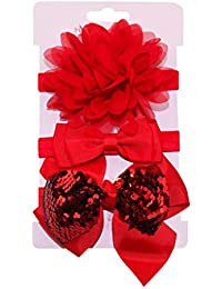 3Pcs Niña de diademas, Malloom Bowknot Flor Sequins Headwear Suave Diadema Recién Nacido Niñas Bandas EláSticas Del Pelo Accesorios Para el Cabello