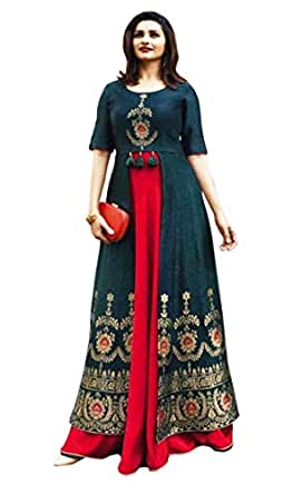 "Black kite Women's Kurtas & Kurtis Rayon Long Kurti Long Kurti for Women Women's Dresses Rayon Maxi Dress (Bust Size 38"" (M)) Dark Green"