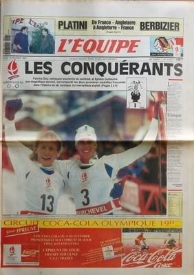 EQUIPE (L') N? 14237 du 13-02-1992 PLATINI BERBIZIER - DE FRANCE-ANGLETERRE A ANGLETERRE-FRANCE - LES CONQUERANTS - FABRICE GUY VAINQUEUR SOUVERAIN DU COMBINE ET SYLVAIN GUILLAUME SON MAGNIFIQUE SECOND ONT REMPORTE LES DEUX PREMIERES MEDAILLES FRANCAISES DANS L'HISTOIRE DU SKI NORDIQUE - UNIQUE PAR JEAN-FRANCOIS RENAULT - ET AUSSI ATHLETISME - AUTO - BASKET - BATEAUX - BOXE - CYCLISME - FOOTBALL - HANDBALL - MOTO - PRODUIT - RUGBY - TELEVISION - TENNIS - VOLLEY-BALL - SPORT EXPRES par Collectif