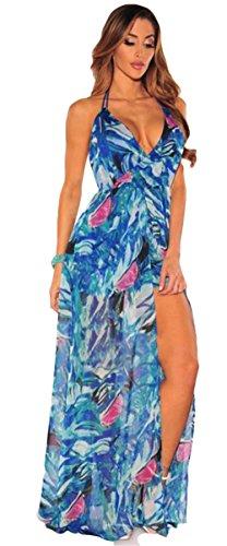 Femmes Sexy Boho Impression Floral Robe de plage en mousseline de soie Irrégulière robe de Clubwear 11 #