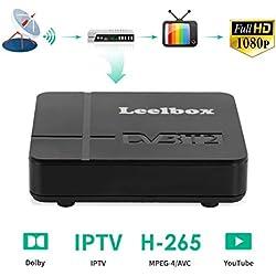 Leelbox Decodeur TNT Terrestre - 1080P HD / DVB-T2 / H.265 / 512M/IPTV/Supports YOUTOBE/Dolby / Multimedia/ decodeur TNT Satellite