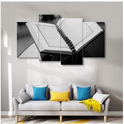 A&D Leinwand Kunst Koran Malerei Haus muslimische Kunst bereit zumAufhängenWand Kunst Cafe Wandmalerei-30x60cmx2 30x80cmx2 kein Rahmen