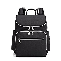 Changing Bag Backpack, Nappy Backpack Usb Baby Diaper Bag Mummy's Backpack With Changing Mat & Stroller Straps(black)