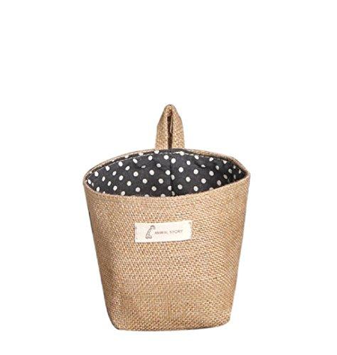 Dot piccolo ripostiglio sacco di tela tessuta Hanging Basket archiviazione