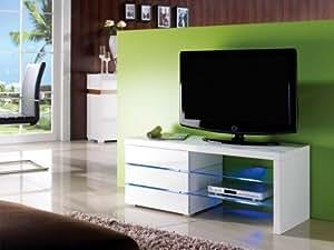 Meuble TV FAISCEAU - 3 tiroirs - Laqué blanc - Leds