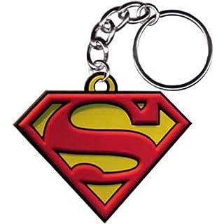 SUPERMAN Logo Rubber Gummi KEYCHAIN SCHLÜSSEL, Officially Licensed Artwork KunstwerkDC Comics Superhero 2.5
