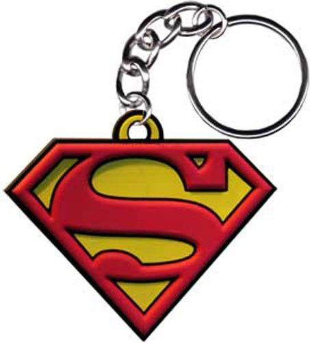 SUPERMAN Logo Rubber Gummi KEYCHAIN SCHLÜSSEL, Officially Licensed Artwork KunstwerkDC Comics Superhero 2.5