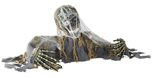 KULTFAKTOR GmbH Animierter Zombie mit Leuchtaugen und Sound Halloween-Dekofigur grau-grün 120x30x19cm Einheitsgröße - Sound Grün