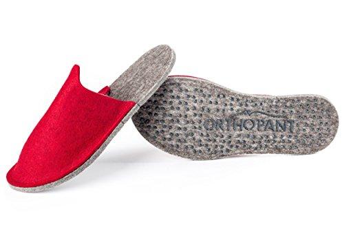 Orthopant pantoufles en feutre pour invités, unisexe, fermé au talon, respirant, antidérapant | 100 % pure feutre de laine pour une chaleur agréable | Qualité fait main du Tyrol du Sud Rouge