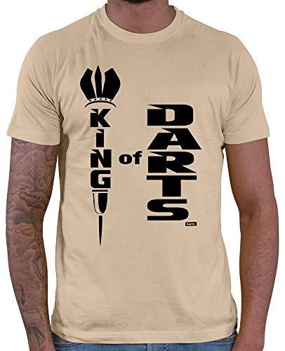 HARIZ  Herren T-Shirt King of Darts Dart Sprüche Dartscheibe Sport Fun Trikot Plus Geschenkkarte Beige XL