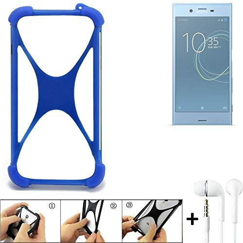 K-S-Trade Handyhülle Sony Xperia XZs Dual SIM Bumper Schutzhülle Silikon Schutz Hülle Cover Case Silikoncase Silikonbumper TPU Softcase Smartphone, Blau (1x), Headphones