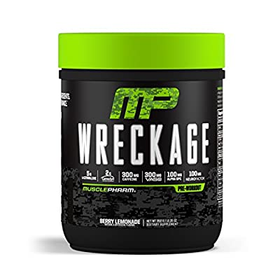 MusclePharm Wreckage Pre-Workout Powder with Superior Focus, Extreme Energy and Sustained Pump - Nitric Oxide, Beta Alanine, and Caffeine, Sour Candy, 25 Servings (Berry Lemonade) from MusclePharm