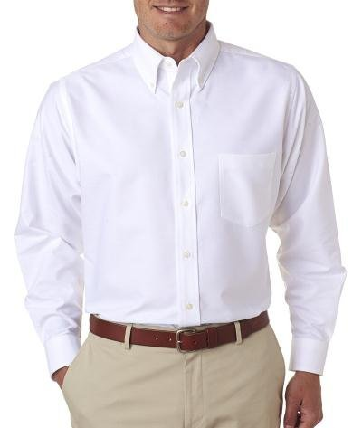 UltraClub® Men's Classic Wrinkle-Free Long-Sleeve Oxford - White - L