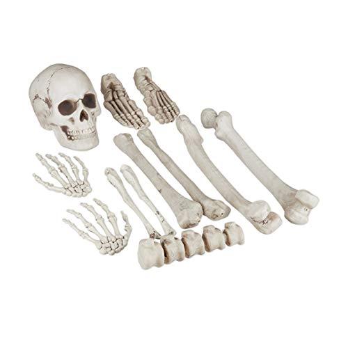 Relaxdays Dekoknochen, 12 TLG Set, Halloween Deko, Außen & Innen, Knochen, Totenschädel & Skeletthände, Horror Deko, XXL