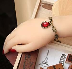 Tears of Rose Boutique - Gothique main rouge en cristal de mode charme bracelet avec des bijoux de bague