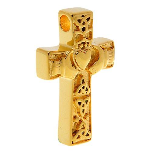 MagiDeal Croce Celtica Cremazione Claddagh Urna Ciondolo Ceneri Oro In Acciaio (Oro Celtica Claddagh Croce)