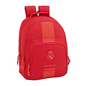 Real Madrid CF Mochila Grande Doble Adaptable a Carro, 42 cm, Rojo